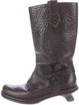 Fendi Embossed Mid-Calf Boots