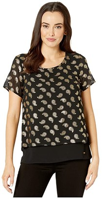MICHAEL Michael Kors Floating Foil Cut Out Back Top (Black/Gold) Women's Clothing