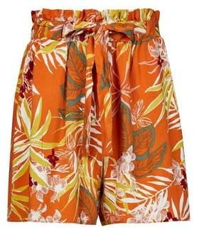 Dorothy Perkins Womens Orange Tropical Print Tie Waist Shorts, Orange