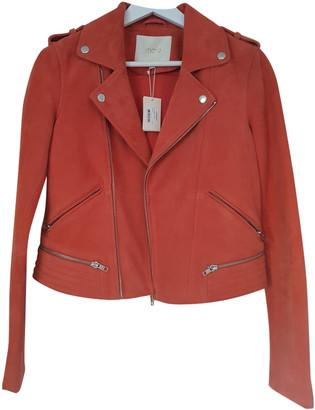 Maje Orange Leather Jackets
