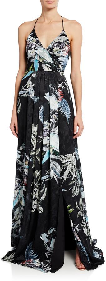 Black Halo Blidge Burnout Printed V-Neck Sleeveless Gown