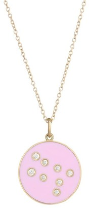 Bare Constellation Gemini Diamond Enamel Pendant Gold Necklace