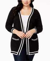 Belldini Plus Size Stripe-Trim Cardigan