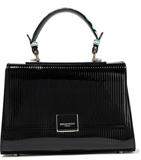 Emilio Pucci Printed Leather-trimmed Matelasse Patent-leather Shoulder Bag