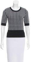 Black Fleece Knit Houndstooth Sweater
