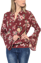 Bellino Burgundy Floral Surplice Top