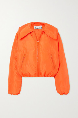 Ganni Cropped Quilted Shell Down Jacket - Orange