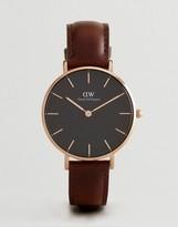 Daniel Wellington DW00100165 Black Petite Bristol Leather Watch In Brown 32mm