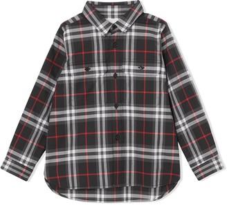 BURBERRY KIDS Plaid Button-Up Shirt