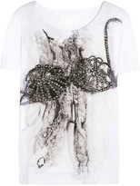 Maison Margiela Printed silk-appliquéd cotton T-shirt