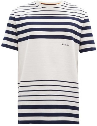 Paul Smith Logo-embroidered Striped Cotton-jersey T-shirt - White Navy