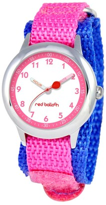 Diney Girl' Red Balloon tainle teel Time Teacher Watch - Pink