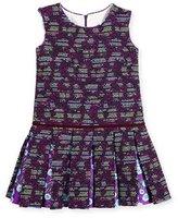 Oscar de la Renta Sleeveless Metallic Tweed Pleated Dress, Ultraviolet/Multicolor, Size 3-14