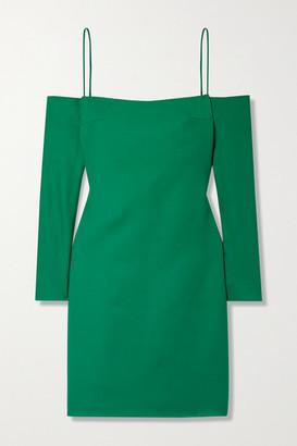 Emilia Wickstead Maida Cold-shoulder Wool Mini Dress - Green