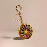 Burberry Floral Print Haymarket Check Concertina Key Charm