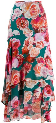 Pinko Long Tiered Floral Print Skirt
