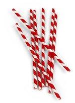 Kikkerland 144-Piece FSC Paper Food Safe Ink Stripe Paper Straw, Red