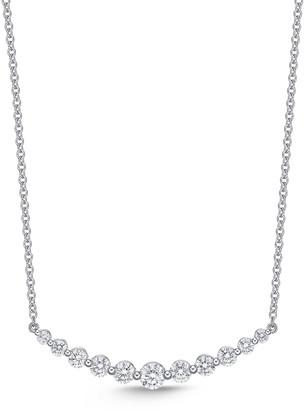 Memoire 18k White Gold Diamond Curved Bar Pendant Necklace