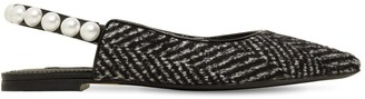 Dolce & Gabbana 10mm Embellished Tweed Slingback Flats