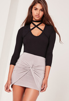 Missguided Slinky Knot Front Mini Skirt Silver