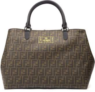 Fendi Brown And Yellow Shopping Bag With Monogram