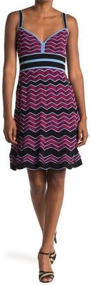 M Missoni Chevron Striped Scallop Hem Dress