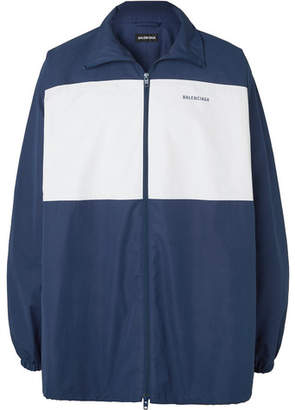 Balenciaga Colour-Block Logo-Print Cotton-Poplin Jacket