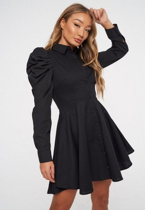 Missguided Black Puff Sleeve Skater Shirt Dress