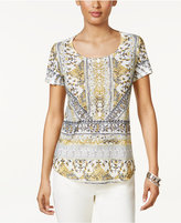 Style&Co. Style & Co Petite Embellished Printed T-Shirt, Only at Macy's
