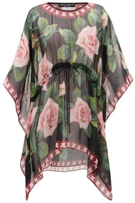 Dolce & Gabbana Rose-print Cover Up - Womens - Black Print