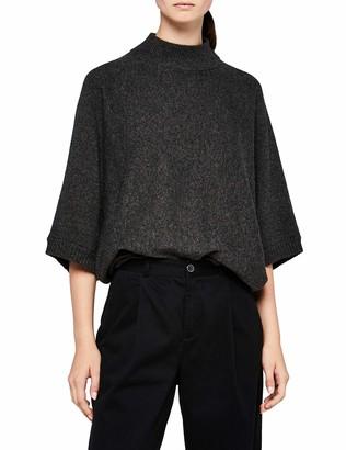 Meraki Amazon Brand Women's Oversized High-Neck Jumper Grey (Charcoal Melange) 12 Label:M
