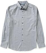 Perry Ellis Dot Print Heathered Twill Long-Sleeve Woven Shirt