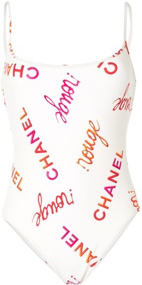 Chanel Pre Owned 1996 Logo-Print Swimsuit