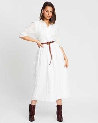 Missguided Broderie Smock Shirt Midi Dress