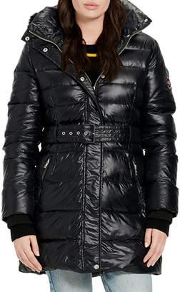 UGG Valerie Belted Down Coat w/ Fur-Trim Hood