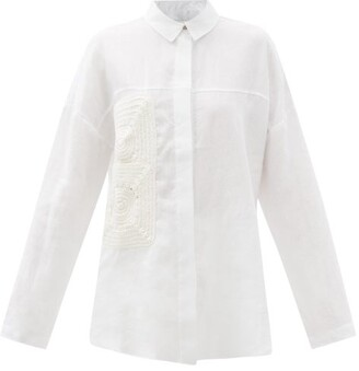 ALBUS LUMEN Crochet-patch Linen Shirt - White
