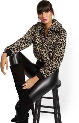 New York & Co. Leopard-Print Teddy Bomber Jacket