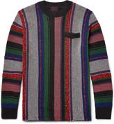 Sacai Striped Jacquard-knit Cotton-blend Sweater