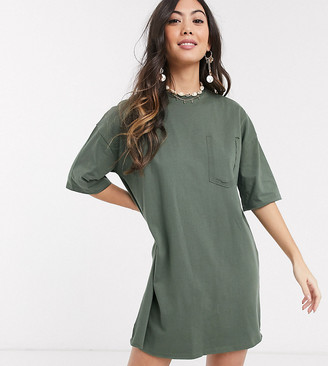 ASOS DESIGN Petite oversized t-shirt dress with pocket detail in khaki