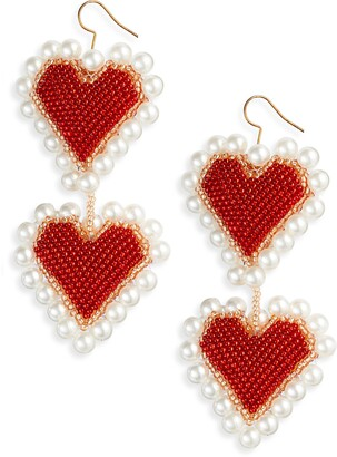 Susan Alexandra Full Heart Bead & Imitation Pearl Drop Earrings