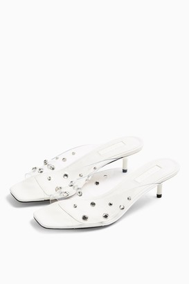 Topshop NOIR White Gem Transparent Mules