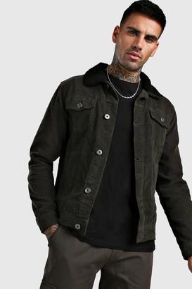boohoo Mens Green Regular Fit Borg Collar Cord Jacket, Green