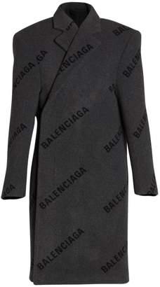 Balenciaga Structured Logo Print Virgin-Wool Coat