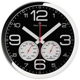 "Oliver Hemming Wall Clock with Weather Station - Black (12"")"