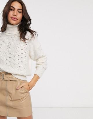 Stradivarius crochet knit jumper in ecru