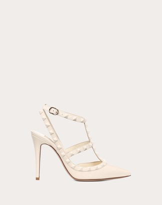 Valentino Rockstud Ankle Strap Pump With Tonal Studs 100 Mm Women Ivory Calfskin 100% 35