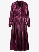Burberry long-sleeve pintuck lamé dress