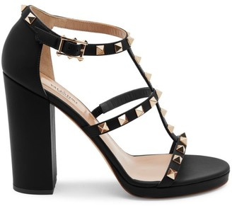 Valentino Rockstud T-Strap Leather Sandals