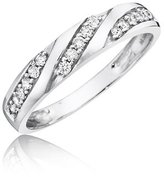 575 Denim 1/4 Carat T.W. Round Cut Diamond Women's Wedding Ring 10K White Gold - Free Gift Box - Size