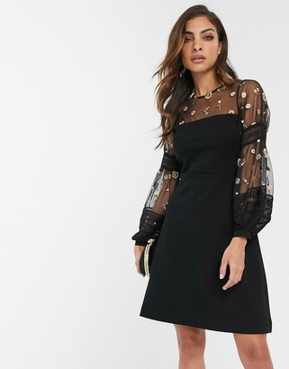 French Connection embroidered volume sleeeve mini dress-Black